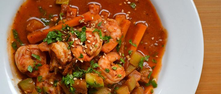 Guatemalan Shrimp and Chayote Stew with Chiltepin Peppers, Pasilla and Ancho Chile, Sesame Seeds and Cilantro / Pepían Rojo con Camarones (potato-free)