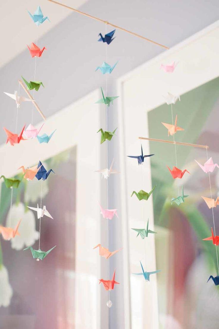 Bright paper crane mobile