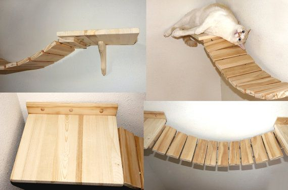 Cat Bridge Boardwalk Walkway Wooden Cat Shelves Cat Wall