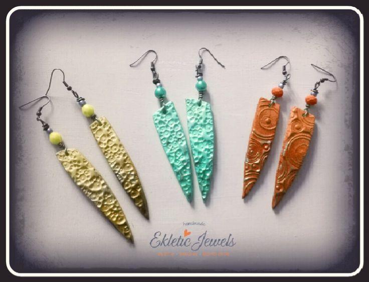 Boho handmade clay earrings