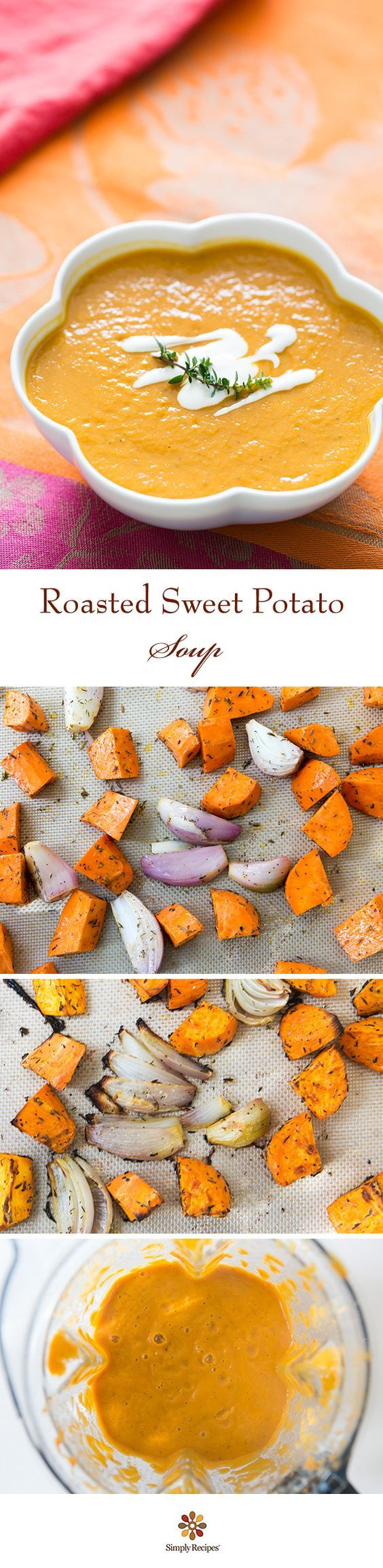EASY roasted sweet potato soup! With shallots, cumin, thyme, and stock. Swirl in a little sour cream or yogurt to serve. ~ SimplyRecipes.com