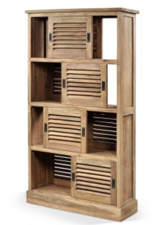 Louvered Storage Screen Natural Teak - £1,315 from www.raftfurniture.co.uk. A multipurpose statement piece to display favourite ornaments right next to valuable storage spaces. Doors slide back to reveal the room beyond or position for a handy partition screen. Made from 100% reclaimed teak. This item comes fully assembled.