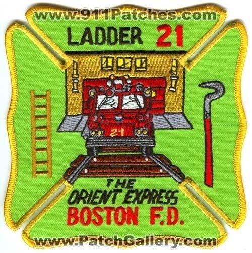 Boston Fire Department Ladder 21 Patch Massachusetts MA - SKU47