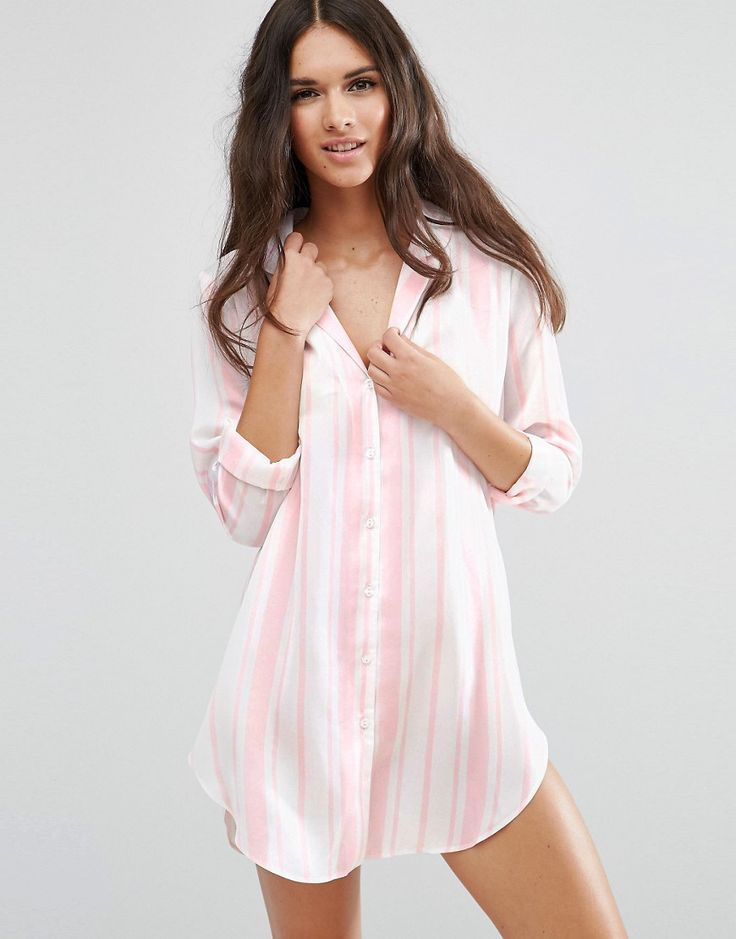 Image 1 of ASOS Moss Satin Stripe Piped Oversized Nightshirt