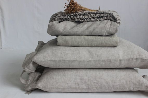 Linen Sheets Set 4pc Softened Luxury Full Double Queen King Pure 100% Flax Eco Natural Organic BEST Prices Natural Bedding Sheets