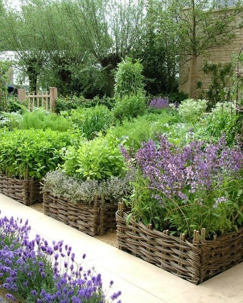 Lovely idea for raised beds: Container therapy at its best!! veggie garden contained in willow fencing that looks like baskets.