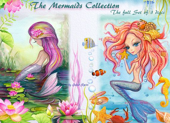 Mermaids Digital Stamps Set of 3 Digital Stamps Sea by JuliaSpiri