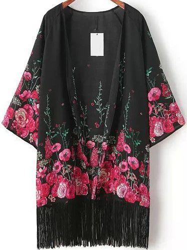 Black Floral Loose Tassel Kimono 17.67