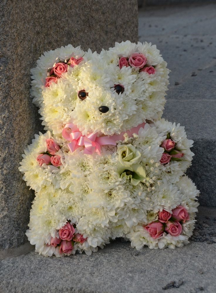 Mini teddy sympathy and funeral floral design using oasis - Flower teddy bear arrangement ...
