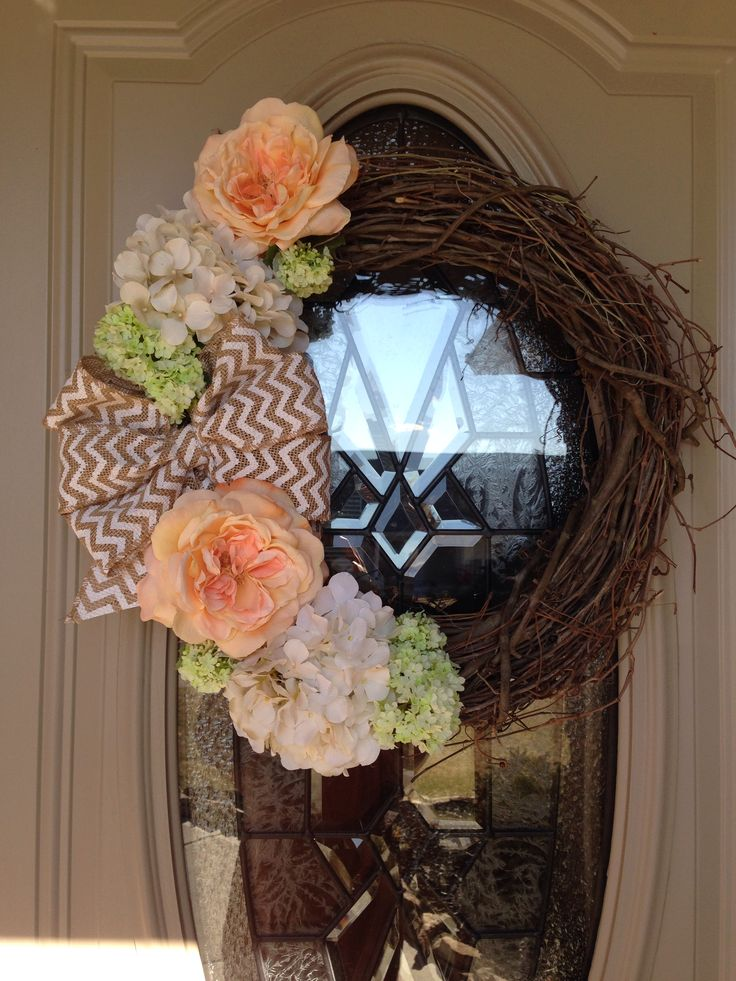 Grapevine wreath with burlap bow...