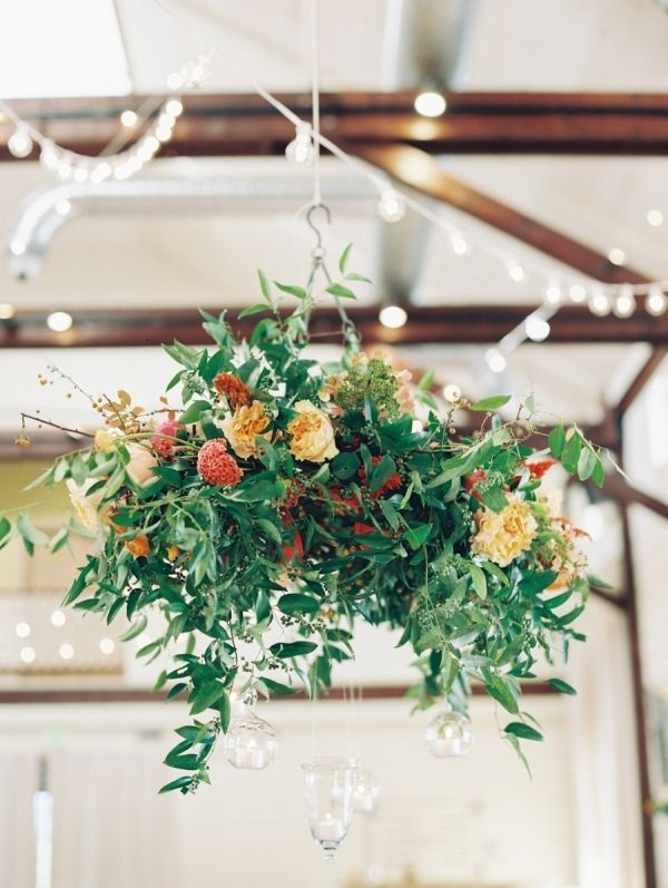 Greenery flower chandelier: http://www.stylemepretty.com/collection/1962/ Photography: Laura Gordon - http://lauragordonphotography.com/