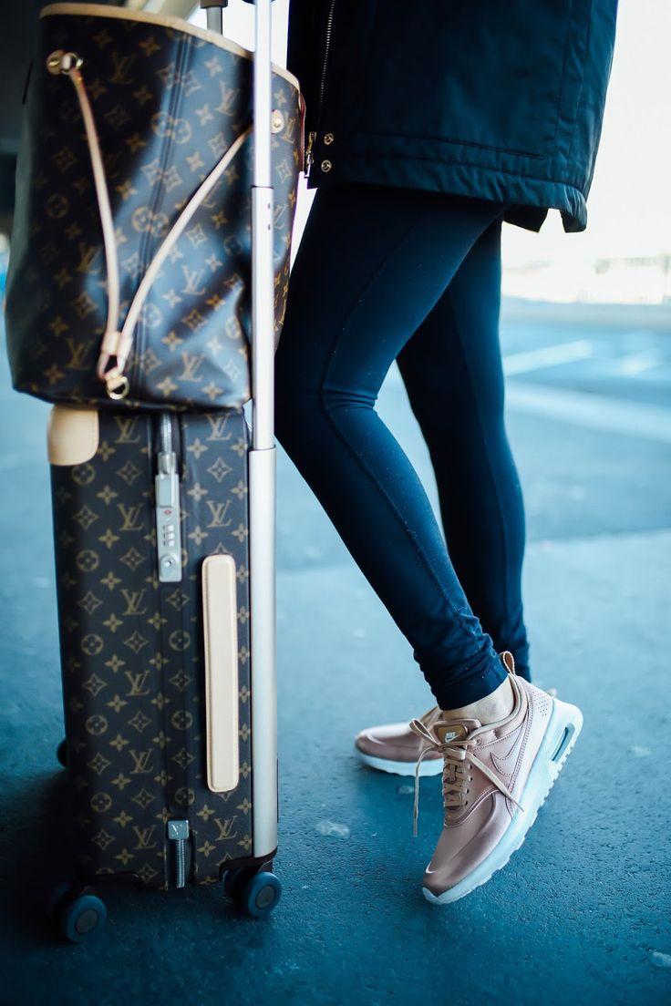 NOVEMBER 21, 2016 What I Wore Traveling Home From Paris + 10 Tips For Long Flights - SWEATSHIRT: Adidas | LEGGINGS: Zella | TENNIS SHOES: Nike | TOTE: Louis Vuitton Nevderful GM | LUGGAGE: Louis Vuitton Horizon 55 | BASEBALL CAP: BP | EARRINGS: Nadri | BLANKET SCARF: Love Always | JACKET: purchased in Paris