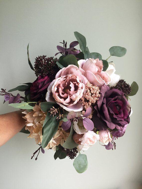 Fall Wedding Bouquet, Purple Bridal Bouquet, Silk Wedding Bouquet, Autumn Bridal Bouquet, Artificial Flower Bouquet, Dusty Rose Bouquet – Kathleen Deshoux