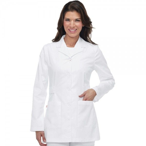 """Orange Standard Hampton White Lab Coat. This fashionable white lab coat is very flattering as it offers a defined shape unlike other white lab coats. The Hampton White Lab Coat also comes with topstitching to highlight the design detail and offers side waist tabs for shaping and two patch pockets. This white lab coat is made from a 65% polyester and 35% cotton and measures 31 1/4"""" in length in a size small. £24.99  #labcoat"""