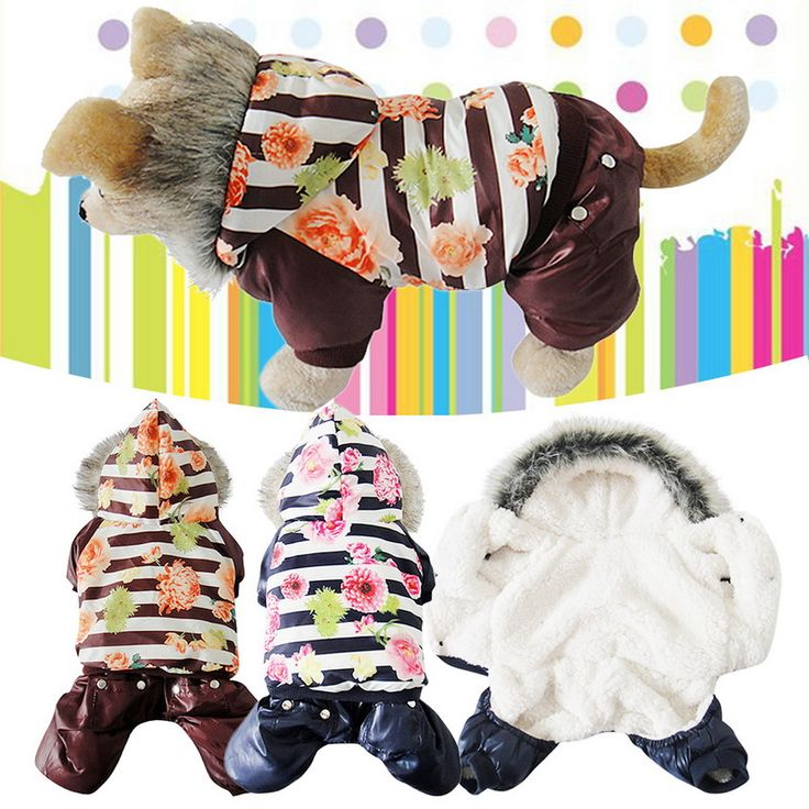 S/M/ L/XL Lovely Style Waterproof Colorful Flower Pet Dog Coat Clothes Warm Winter Pet Dog Outerwear Jumpsuit Clothes for Dog