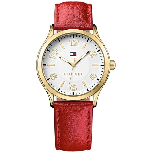 Tommy Hilfiger Women's Red Pebble Leather Strap Watch 38mm 1781601 ($65) ❤ liked on Polyvore featuring jewelry, watches, red, tommy hilfiger, red watches, logo watches, tommy hilfiger jewelry and tommy hilfiger watches