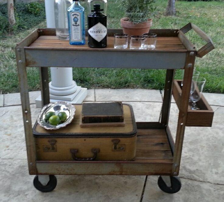 Industrial Bar Cart  Rolling  Rusty Metal Table  by tarnishedhinge, $395.00
