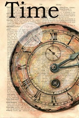 """Time"" Old Clock Face Mixed Media Drawing on Distressed, Dictionary Page - Available for purchase at www.etsy.com/shop/flyingshoes - flying shoes art studio"