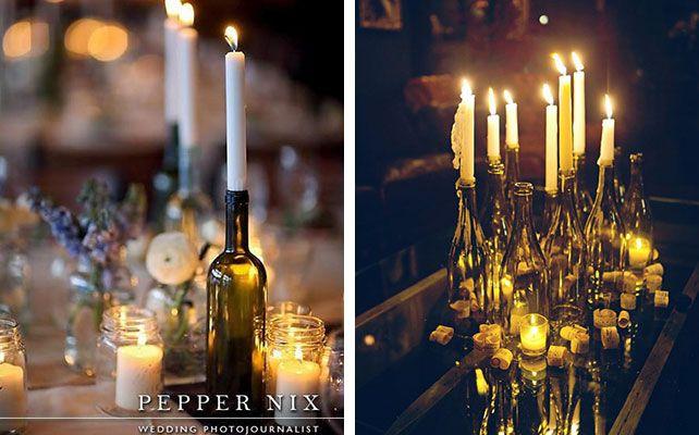 Как сделать подсвечники из винных бутылок для романтического ужина