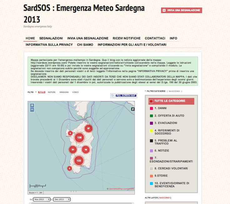sardSOS crisis map of Sardinia Emergency 2013 on Ushahidi  https://sardsos.crowdmap.com/