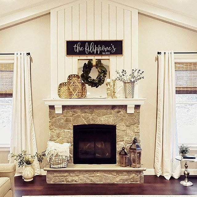 Thedecorformula We Are Crushing On This Awesome Family Room Feature Wall Complete With Vertical Rustic Stone Fireplace Fireplace Remodel Family Room Design