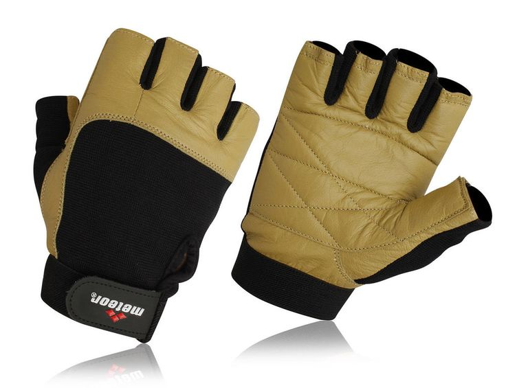 Leather Weight Lifting Gym Gloves, Fitness Gloves Unisex S-XXL Gold | eBay