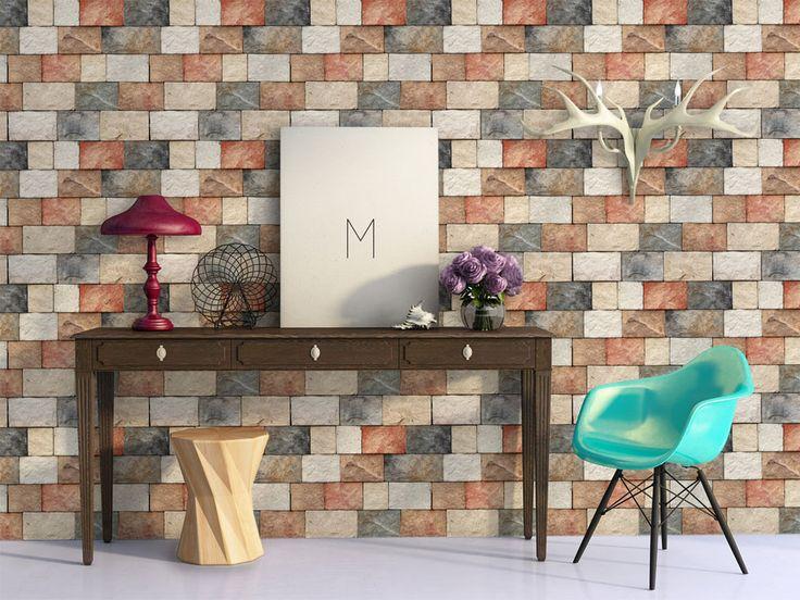 Tapeta z imitacją kolorowej cegły #fototapeta #tapeta #wallpaper #decor #dekoracja #design #cegła