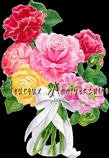 joyeux anniversaire bouquet de fleurs cartes d. Black Bedroom Furniture Sets. Home Design Ideas