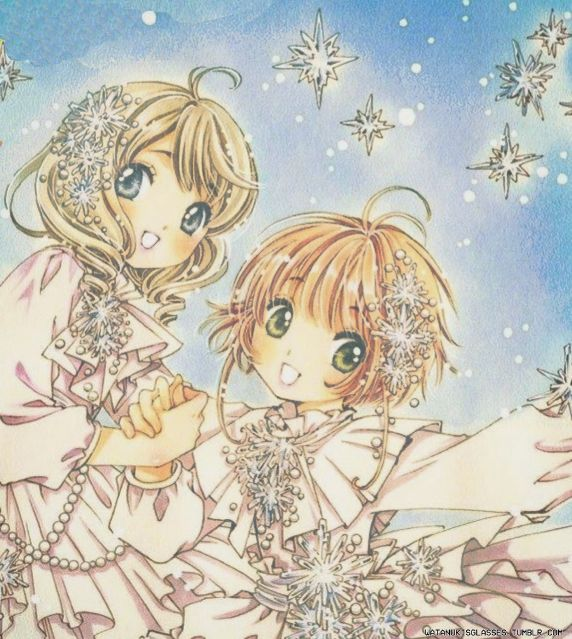 """watanukisglasses: """" Akiho Shinomoto and Sakura Kinomoto in the new chapter of CCS Clear Card Arc. Aren't they gorgeous?  """""""