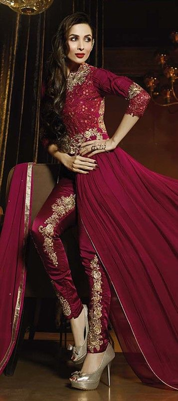 458324 Red and Maroon color family Bollywood Salwar Kameez in Faux Georgette fabric with Machine Embroidery,Stone,Thread work .