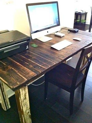 reclaimed wood writing desk...thinking of making Matthew make this for our office to occupy an entire wall, like a his & hers desk