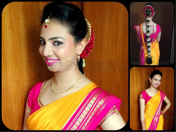 Traditional Southern Indian bride wearing bridal Mysore silk saree and jewellery. Engagement look. Makeup and hairstyle by Vejetha for Swank Studio. #BridalSareeBlouse #SariBlouseDesign  Silk kanchipuram sari. Tamil bride. Telugu bride. Kannada bride. Hindu bride. Malayalee bride. Mysore silk saree. Simple makeover. Find us at https://www.facebook.com/SwankStudioBangalore