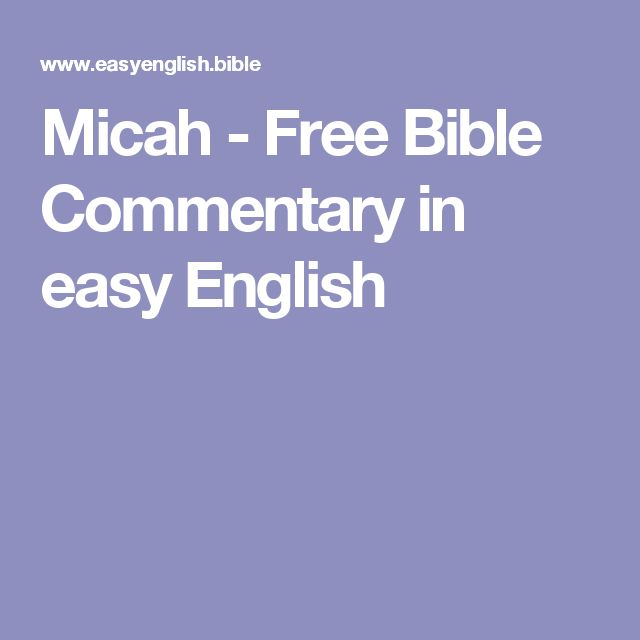 Micah - Free Bible Commentary in easy English