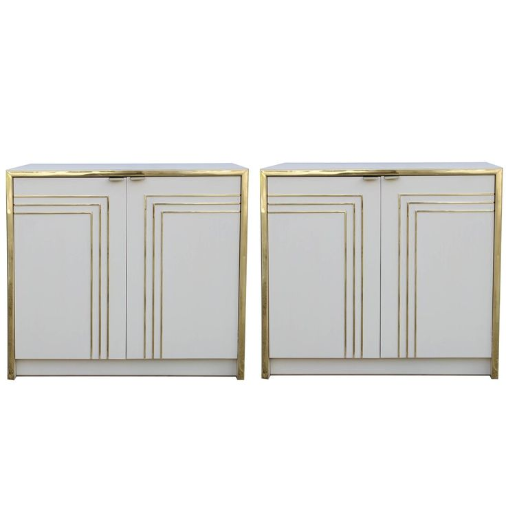 Pair of Cream and Gold Nightstands | From a unique collection of antique and modern night stands at https://www.1stdibs.com/furniture/tables/night-stands/