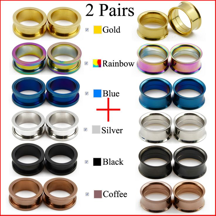 BOG- Fashion 2 Pairs Stainless Steel Ear Plugs Hollow Expander Stretcher Tunnels Piercing Gauges 2 mm To 20mm 6 Colors