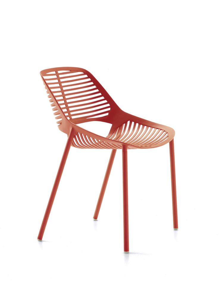 NIWA collection. Chair Coral Red / Sedia Rosso Corallo. FAST IN_OUT_ALUMINIUM