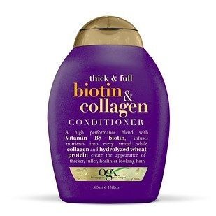 OGX Biotin and Collagen Shampoo and Conditioner, which nourish hair to make it look fuller. | 29 Products For Thin Hair That People Actually Swear By
