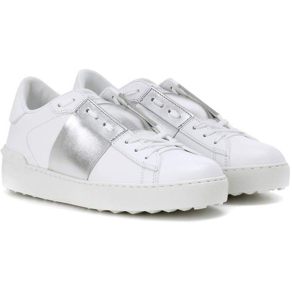 Valentino Open Metallic Leather Sneakers (830 AUD) ❤ liked on Polyvore featuring shoes, sneakers, white, valentino trainers, metallic silver sneakers, metallic sneakers, leather sneakers and genuine leather shoes
