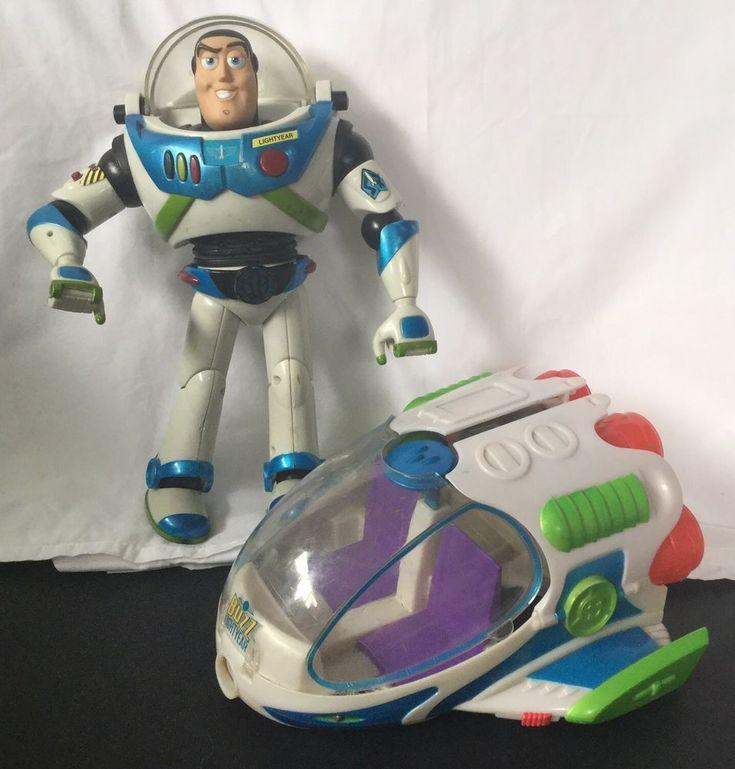 TOY STORY Buzz Lightyear Talking Action Figure + Space Ship Disney Pixar Hasbro #toys #ebayrocteam