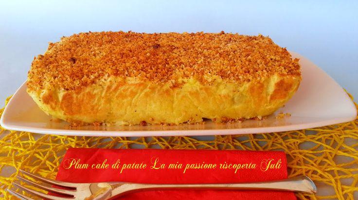Plum cake di patate ripieno,da servire come contorno come secondo piatto ripieno di funghi piselli e uova sode,affettate è servite il plum cake.....