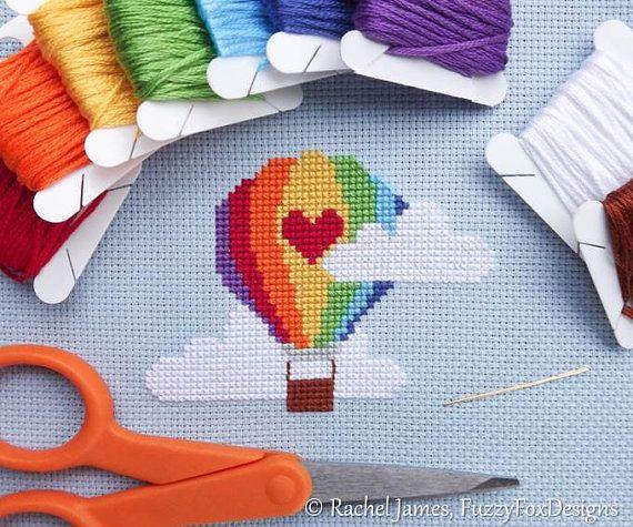 Cute Rainbow Hot Air Balloon Easy Beginners by FuzzyFoxDesigns