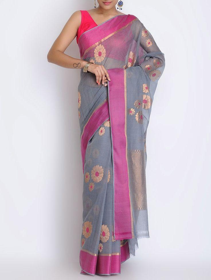 Grey-Fuschia Kota Doria Cotton Zari Handwoven Saree by Ekaya on Jaypore.com