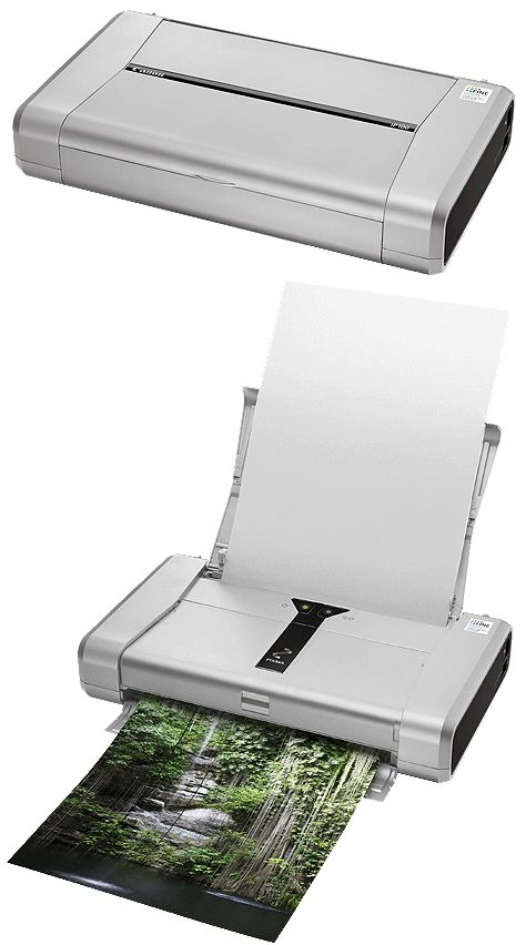 CANON PIXMA iP100 avec batterie Impression de photos et de documents d'une grande précision pendant vos déplacements. Points forts Imprimante portable pour documents et photos.Têtes d'impression FINE 9600 x 2400 ppp.Système à 5 réservoirs d'encre.Impressions photo en 50 s.Système ChromaLife100.Vitesse d'impression de documents de 9 ipm en noir et blanc et 5,9 ipm en couleur.Impression IrDA IR et Bluetooth (en option).Fournie avec une batterie rechargeable