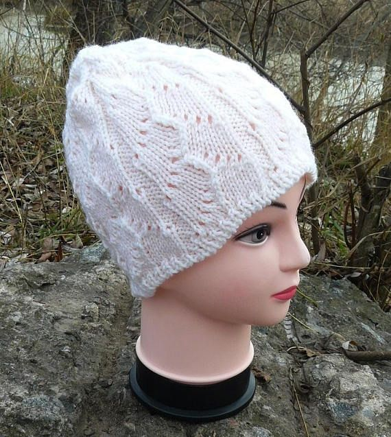 Custom handknitted beanies hats for women White wool hats