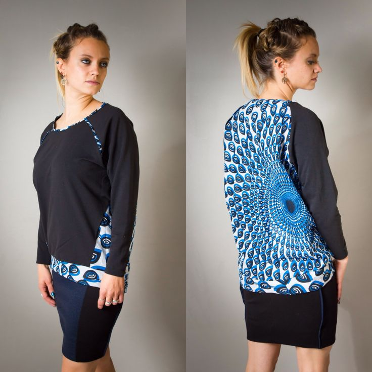 Pull sweat pour femme, imprimé Wax bleu, et molleton noir, streetwear, top, sweat-shirt, african prints, ethnique, ethnic, woman, sport de la boutique AllByK sur Etsy