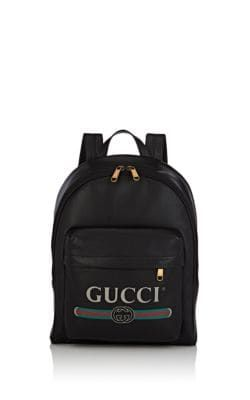 d0b21980efcf GUCCI LOGO LEATHER BACKPACK - BLACK.  gucci  bags  leather  canvas   backpacks  stone