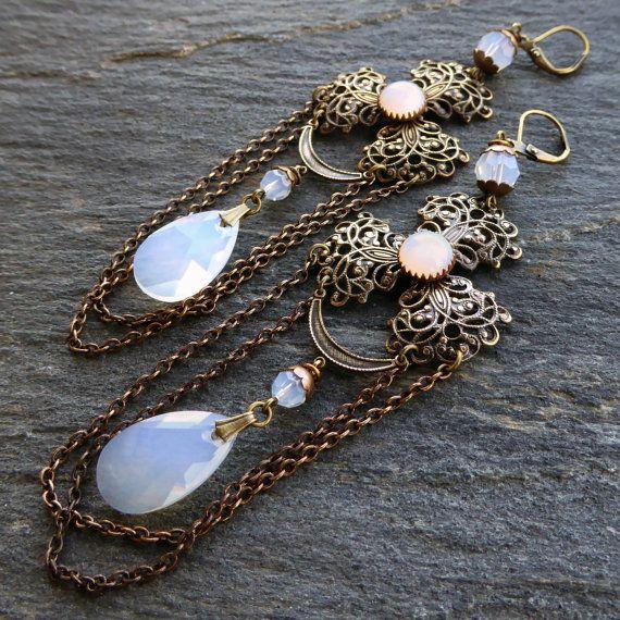 White opal earrings Swarovski crystal chandelier by lecoupdegrace