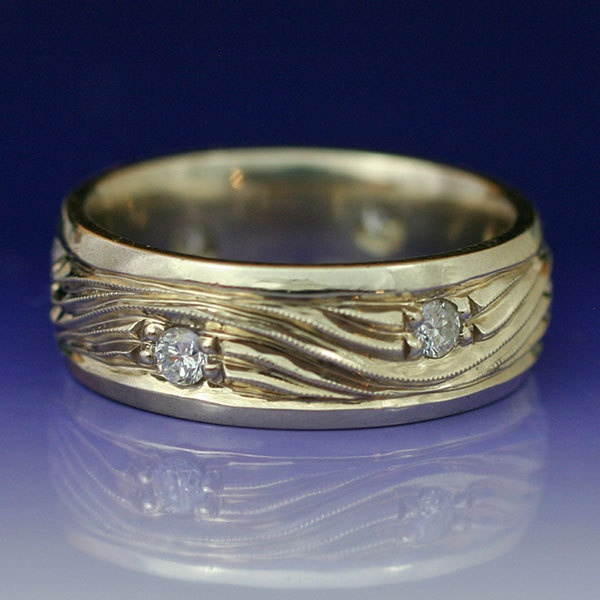 Water and ice wave wedding band by http://etsy.com/shop/BandScapes