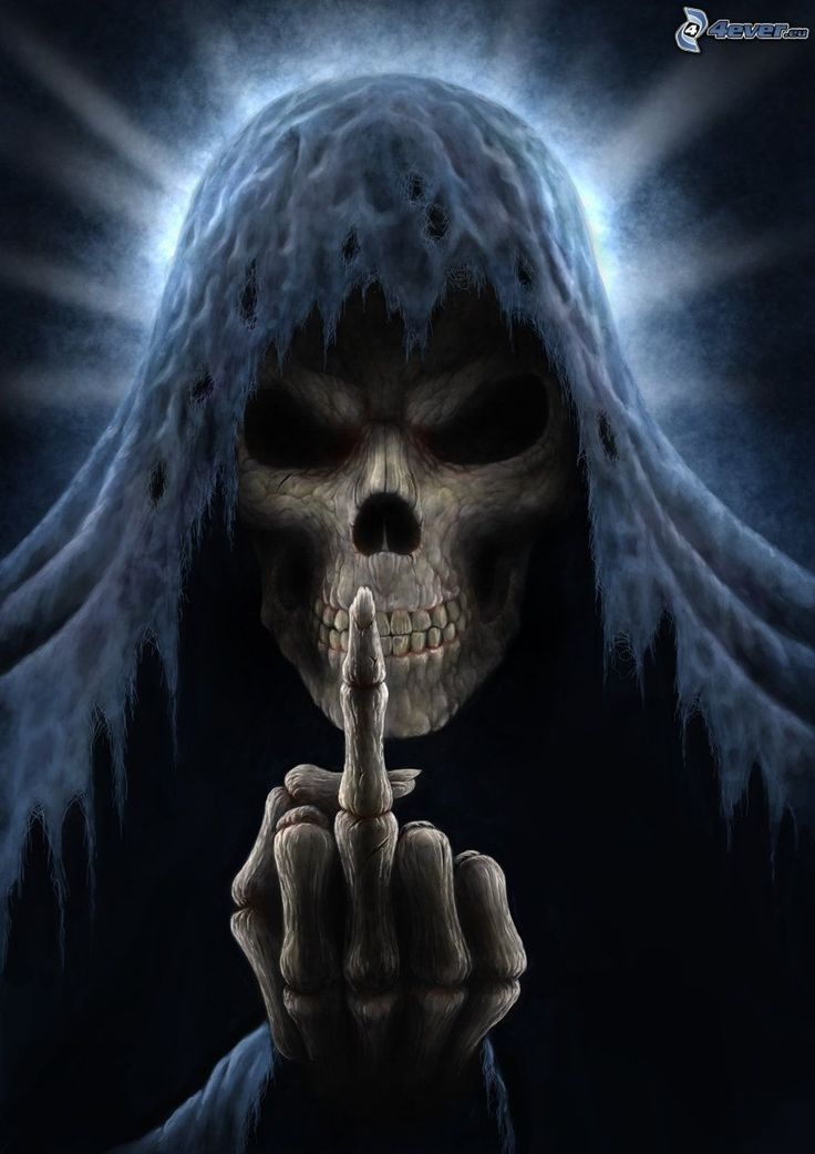 Grim Reaper Giving the Finger | Tête de mort