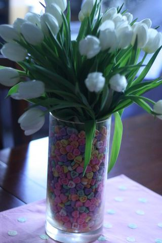 candy hearts as a vase filler